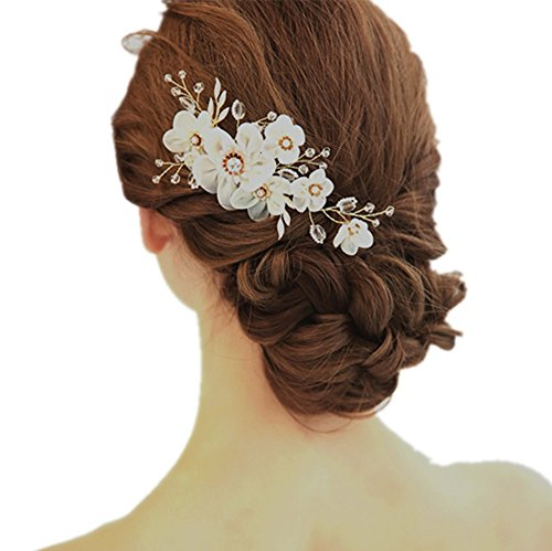 Meiysh Bridal Flower Side Hair Combs Pearl Bridal Headpiece Wedding Accessories (ivory)
