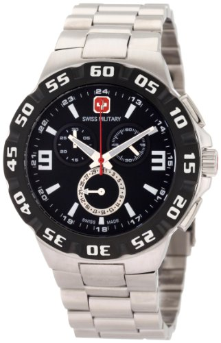 Swiss Military Calibre Men s 06-5R2-04-007 Racer Chronograph Black Dial Steel Bracelet Watch