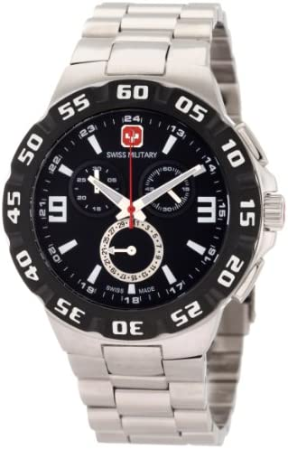 Swiss Military Calibre Men s 06-5R2-04-007 Racer Chronograph Black Dial Steel Bracelet Watch