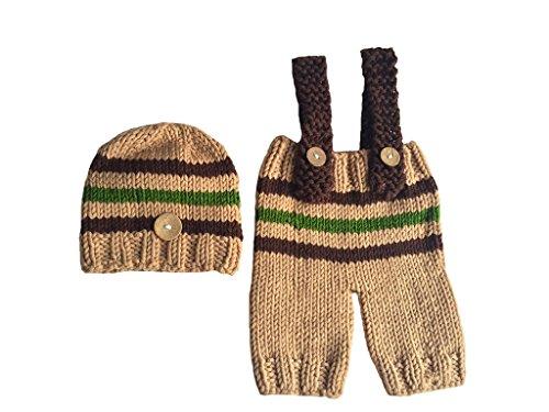 Lumberjack Costume Toddler (CX-Queen Baby Photography Prop Crochet Knit Stripe Lumberjack Hat Pants Suspender)
