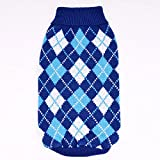 PZSSXDZW Dog Clothes Autumn and Winter Geometric Rhombic Sweater Knit Pet Clothes Pet Sweater New Dark Blue S