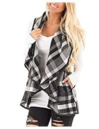 WO-STAR Women Lapel Open Front Sleeveless Plaid Vest Cardigan with Pockets