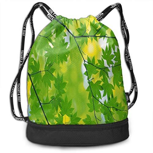 Sport Unisex Bundle Drawstring Backpack Green Leaves Sunshine Travel Durable Large Space Gym Sack Customized Waterproof Multifunction School Backpack