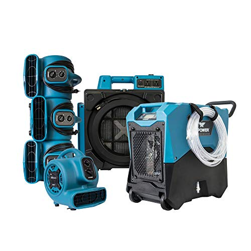 XPOWER Water Damage Restoration/Contractor Package for Basements, Restrooms, Restaurants, Crawl Spaces. 1 XD-85LH LGR Commercial Dehumidifier with Handle and Wheels,1 X-2480A Air Scrubber & 4 P-230ats