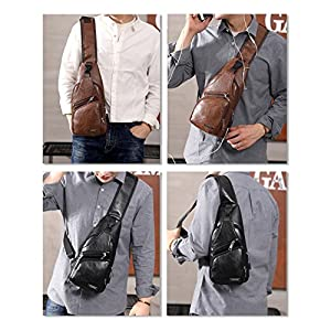 ElkIsComing Sling Bag Chest Bag with USB Charging Port Crossbody for Men Women Lightweight Hiking Travel Backpack