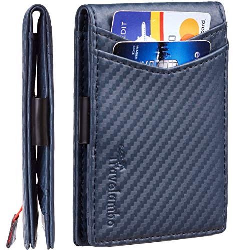 Travelambo Mens RFID Blocking Front Pocket Minimalist Slim Genuine Leather Wallet Pull Tab Money Clip (Carbon Fiber Texture Blue)