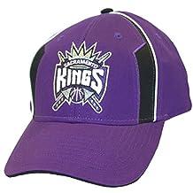 NBA Officially Licensed Sacramento Kings Black on Purple Baseball Style Hat Cap