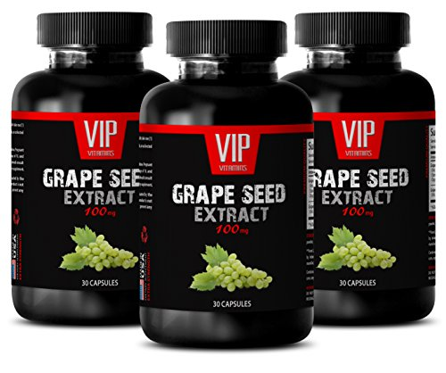 Improve blood circulation - GRAPE SEED EXTRACT 100 - Grape seed pure extract - 3 Bottles - 90 Capsules