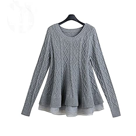 Amazon.com  Naomiky Pretty Autumn New Fashion O-Neck Long Sleeve Mesh  Ruffles Sweater Female Knitted Pullover Solid Plus Size Women Winter Clothes  Red One ... bd8473cca
