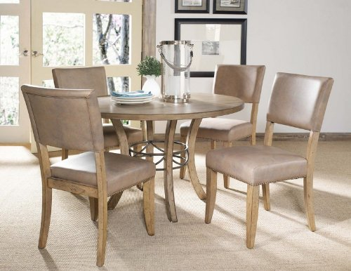 5 Piece Round Wood Dining Set with Parson Chairs (Parsons Chair Round Chair)