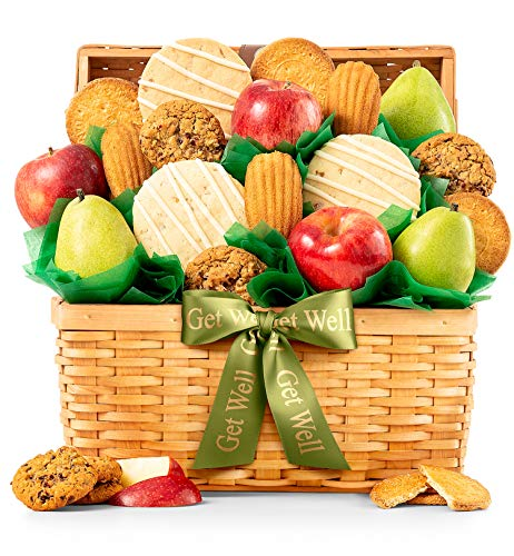 GiftTree Fresh Fruit and Gourmet Cookies Get Well Gift Basket | Premium Fresh Pears, Apples with Fresh Cookies | Send Healing Thoughts