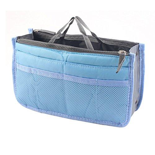 sourcingmap® Reise tragbar Kosmetik Schminken Speicherung Handtasche Tote Insert Beutel Tasche Sky Blau