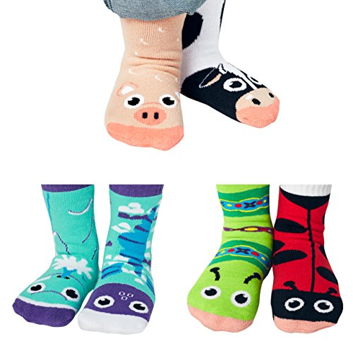 1 Pal - Ladybug and Caterpillar, Dolphin and Fish, Cow and Pig - Toddler Sock Set - Sunny Sidekicks Mismatched Friends 3-Pack