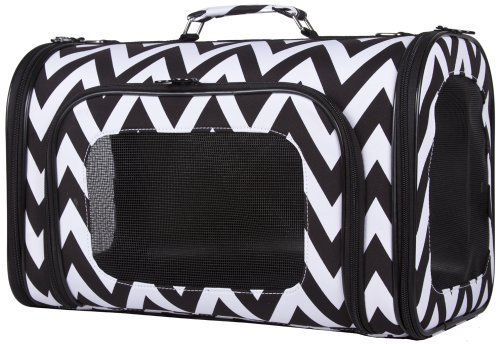 Ever Moda Black White Chevron Print Soft-sided Pet Carrier 18-inch