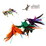 3Pcs of Feather Teaser Wand , Cat Interactive Toys with Bells , Cat Wand Toy for Cats & Kitty