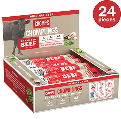 CHOMPS Grass Fed Mini Original Beef Jerky Sticks, Paleo & Keto Friendly, Whole30 Approved, Non-GMO Gluten & Sugar Free 43 Calorie Snacks, 0.5 Ounce Stick, Pack of 24