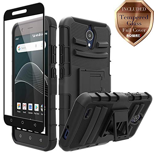 AT&T AXIA QS5509A Case, Cricket Vision DQON5001 Case, Aoways Tempered Glass Screen Protector, Heavy Duty Hard PC Back Cover Soft TPU Inner Kickstand Protective Case for AT&T AXIA QS5509A - Black ()