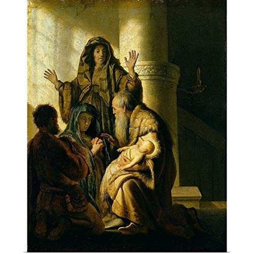 "GREATBIGCANVAS Poster Print Entitled Simeon and Hannah in The Temple, c.1627 by Rijn (1606-1669) Van Rembrandt 38""x48"""