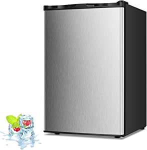Kismile 3.0 Cu.ft Upright Freezer with Compact Reversible Single Door,Removable Shelves Free Standing Mini Freezer with Adjustable Thermostat for Home/Kitchen/Office (Stainless steel)