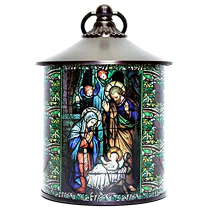 Stained Glass Style Christmas Nativity Scene LED Light Up Lantern, 8 Inch