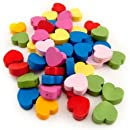 Hygloss 125 Piece Colored Wooden Heart Beads