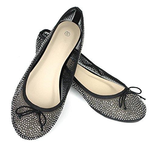 Womens Mesh Lace Sparkle Ballet Comfy Slip Op Ballerina Flats Schoenen Zwart