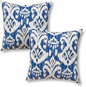 Amazon Com Greendale Home Fashions 17 In Square Outdoor Throw Accent Pillow Azule Ikat Set Of 2 Free Home Decor Home Kitchen