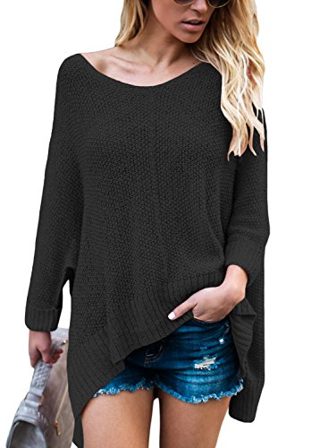 ZKESS Womens Loose Round Neck Long Sleeve Knits Sweater Pullover Tops Black XL
