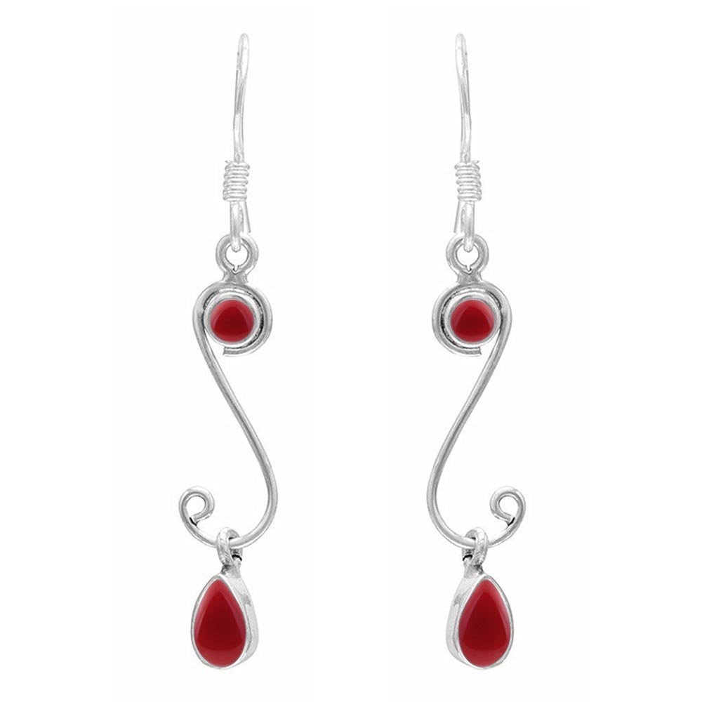 4.10ct,Genuine Carnelian /& 925 Silver Plated Dangle Earrings Made By Sterling Silver Jewelry