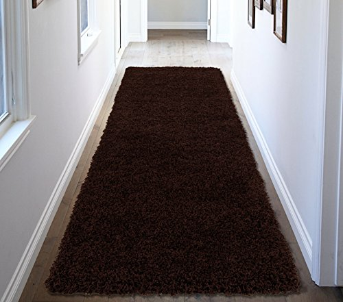 Dark Brown Runner - Ottomanson Soft Cozy Color Solid Shag Runner Rug Contemporary Hallway and Kitchen Shag Runner Rug, Brown, 2'7