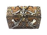 5.5 Inch Skull and Chain Pirate's Chest Jewelry/Trinket Box Figurine
