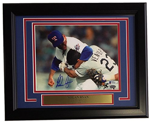 Nolan Ryan Signed Framed 8x10 Texas Rangers Ventura Fight Photo BAS+Ryan (Ryan Framed Photo)