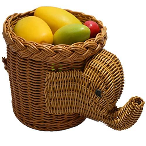 SGKJJ Fruit Basket Animal Fruit Plate Elephant Bun Fruit Dish Craft Fruit Tray Rattan Comport (color : Brown, Shape : Elephant)