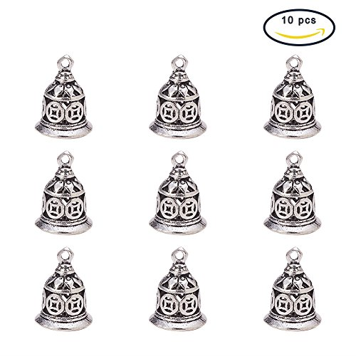 PandaHall Elite 10Pcs Brass Christmas Bell Charms Pendants for Jewelry Making Antique Silver Size 15x11mm