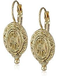 Brass Antique Inspired Oval Drop Earrings
