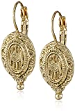 1928 Jewelry Brass Antique Inspired Oval Drop Earrings