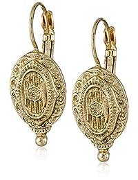 1928 Jewelry Brass Antique Inspired Oval Drop Earrings