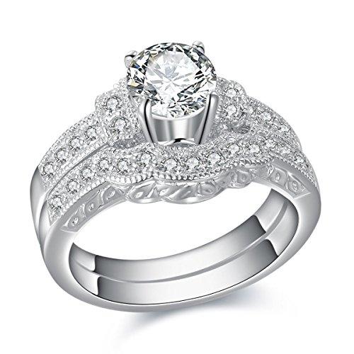 Newshe Jewellery 1.76 Carat Round White CZ White Gold Plated Wedding Band Engagement Ring Set Size 9