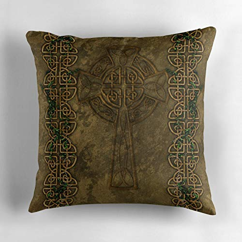 Rdkekxoel Celtic Cross and Celtic Knot Strips Throw Pillow Cover Vintage Cotton Decorative Pillow Cover Home Decors Soft Sofa Cushion Cover Home Decorations 18x18 inch 45x45cm
