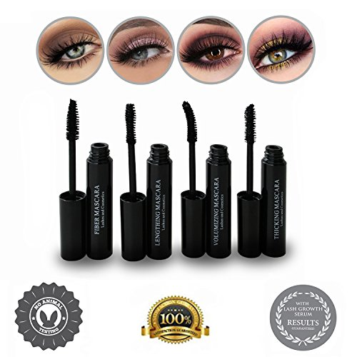 - 3D Fiber Lash Mascara with Growth Enhancing Serum Kit - Thickening, Volumizing, Lengthening, And 3D Fiber Lash Mascara With Pink Embossed Faux Snakeskin Case, Make Your Lashes Look Amazing