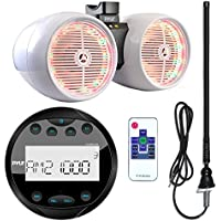 Pyle PLMR90UW Waterproof Bluetooth Marine Gauge Style MP3 Media Receiver Bundle Combo With 8 Inch 600 Watt Dual Wakeboard Multi Color LED Light Boat Tower Speakers + Enrock 22 AM/FM Radio Antenna