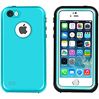 iPhone 5 5S SE Waterproof Case, Eonfine Shockproof Protective Full-sealed Hard Cover, Underwater IP68 Certificated with Touch ID Snow Dust Dirty Proof Case for iPhone 5 5S SE (Teal)