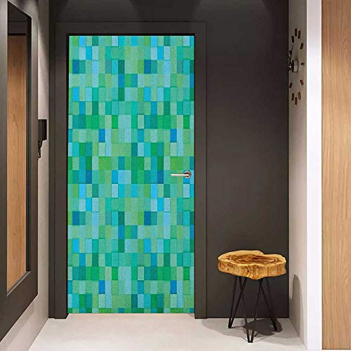 Onefzc Automatic Door Sticker Teal 3D Cube Pattern Abstract Squares Vibrant Colored Geometric Shapes Design Modern Easy-to-Clean, Durable W31 x H79 Sea Green Blue