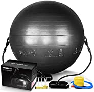 PACEARTH Exercise Ball for Home Gym Office Thick Yoga Ball Chair with Resistance Bands and Quick Pump Anti-Bur