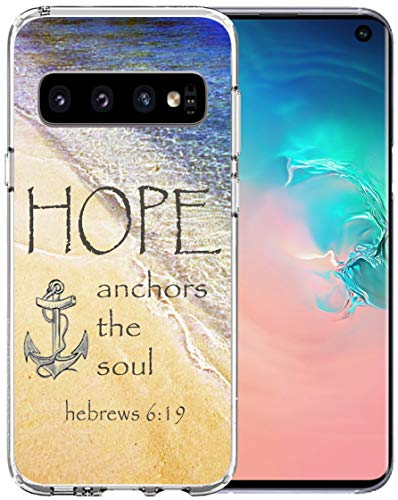 Case for S10 Bible Words - Topgraph [Soft TPU Slim Fit Black with Design] Cover Compatible with Samsung Galaxy S10 Protective Cover Bible Words Silicone Cover Hope Anchors The Sould