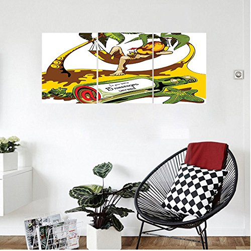 Liguo88 Custom canvas Holiday Decorations Image Of Young Man In Hammock And Message In A Bottle At Beach Artsy Decor Bedroom Living Room Decor White Green Yellow - Lexan Bottle Cool