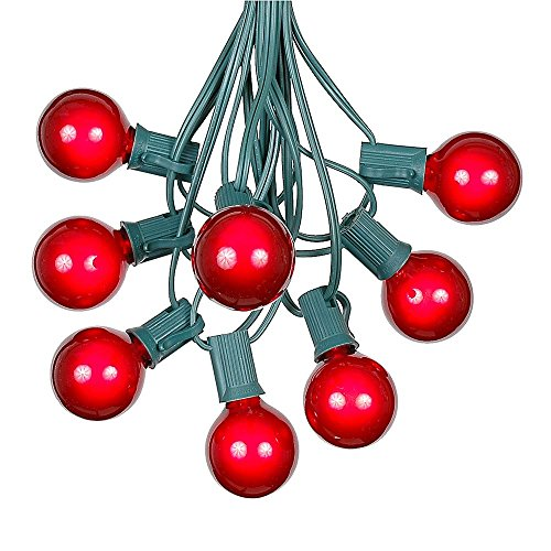 G40 Patio String Lights with 25 Red Globe Bulbs - Hanging Garden String Lights - Vintage Backyard Patio Lights - Outdoor String Lights - Market Cafe String Lights - Green Wire - 25 Foot