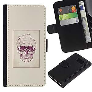 JackGot ( Hipster cráneo ) Samsung Galaxy S6 la tarjeta de Crédito Slots PU Funda de cuero Monedero caso cubierta de piel