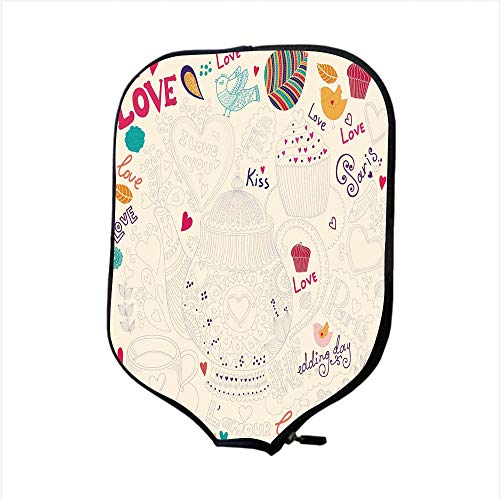 Neoprene Pickleball Paddle Racket Cover Case,Tea Party,Hand Drawn Doodle Style Cartoon Tea Time Sketch Love Kiss Teapot Lovely Birds Decorative,Multicolor,Fit For Most Rackets - Protect Your Paddle