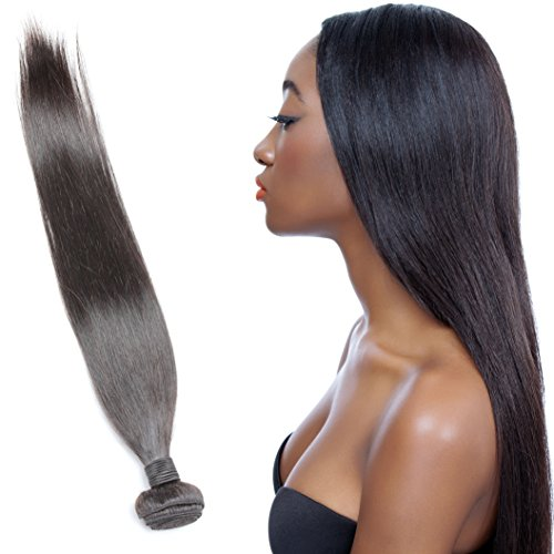 [OneDor Brazilian Straight Virgin Hair Weave Unprocessed Afro Remy Human Hair Extensions Natural Color 100g/Bundle (1 Bundle 20] (Indian Costume No Sew)